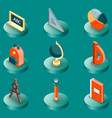 school color isometric icons vector image