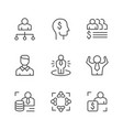 set line icons business people vector image vector image