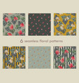 set of 6 seamless floral pattern vector image