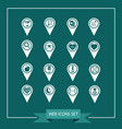 set of map pointer icons for website and vector image vector image