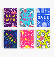 set summer poster bright memphis geometric vector image