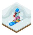 Snowboard Winter Activity Vacation Journey Flat vector image