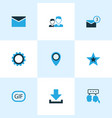 social icons colored set with star pinpoint gear vector image vector image