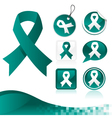 Teal Awareness Ribbons Kit vector image vector image