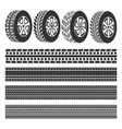 tire shop tire tracks set vector image vector image