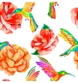 Tropical birds and flowers seamless pattern