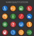 university 16 flat icons vector image