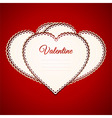 Valentine heart paper greetings card over red vector image vector image