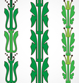 Vintage decorative set green floral pattern vector image