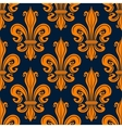 Vintage seamless orange fleur-de-lis pattern vector image