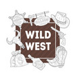 wild west banner template western cowboy hand vector image vector image