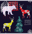winter deer floral pattern vector image vector image