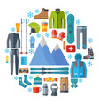 winter sportswear and equipment round icon set vector image vector image