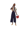 young stylish african american woman vector image vector image