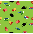 Seamless pattern with leaves books and hats vector image