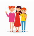 three children standing and hugging flat vector image