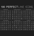 180 modern thin line icons set on dark black vector image vector image