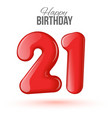 21 birthday Greeting card with numbers vector image vector image