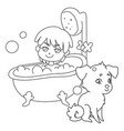 a little boy is washing in a bathtub with foam and vector image vector image