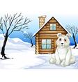 A polar bear outside the wooden house vector image