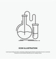analysis chemistry flask research test icon line vector image vector image