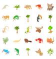 animal life icons set cartoon style vector image vector image