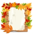 Autumn leaves and paper wood banner vector image