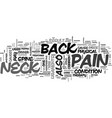 back and neck pain text word cloud concept vector image vector image