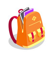 backpack full of book isolated vector image vector image
