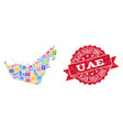 black friday collage of mosaic map of united arab vector image vector image
