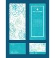 blue line art flowers vertical frame vector image vector image