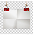 border template with paper and red clips vector image vector image