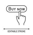 buy now button linear icon vector image vector image