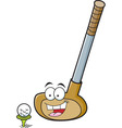 Cartoon smiling golf club with a golf ball vector image