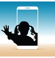 child silhouette sweet on cellphone vector image vector image