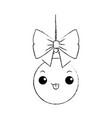 christmas ball kawaii character vector image