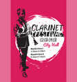 clarinet festival poster vector image vector image