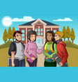 college students talking on campus vector image vector image