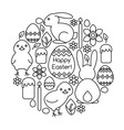 Composition of Easter symbols line art vector image