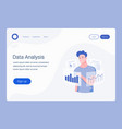 data analysis landing page template vector image