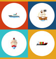 flat icon ship set of vessel sailboat tanker and vector image vector image