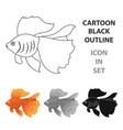 gold fish icon cartoon singe aquarium fish icon vector image vector image