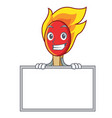 grinning with board match stick character cartoon vector image vector image