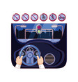 hands driving car with driver safely icons vector image vector image