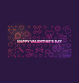 happy valentines day colored outline banner vector image vector image
