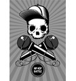 hip-hop battle music poster with skull vector image