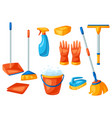 housekeeping cleaning items set vector image