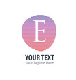 initial letter e abstract line logo style vector image