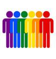 lgbt movement rainbow flag six men vector image vector image
