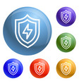 light shield icons set vector image